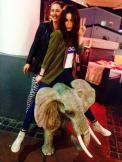Roxanne and Christina Chong riding a tiny elephant (tweeted by @Roxanne_Mckee)